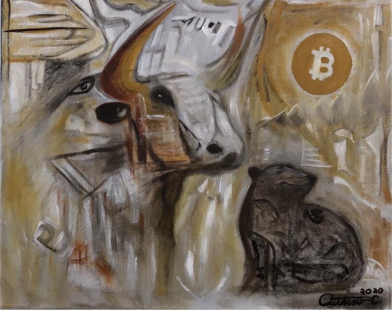 Bitcoin Bull Run Oil on Canvas by Outarow Chhuong